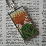 Flowering cactus, vintage botanical illustrations, hand-soldered glass pendant