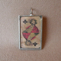 Vintage playing cards, jack of spades, Jack of clubs, illustrations, hand-soldered glass pendant