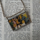 Detective Comics, vintage Topps comic book illustration, upcycled to soldered glass pendant