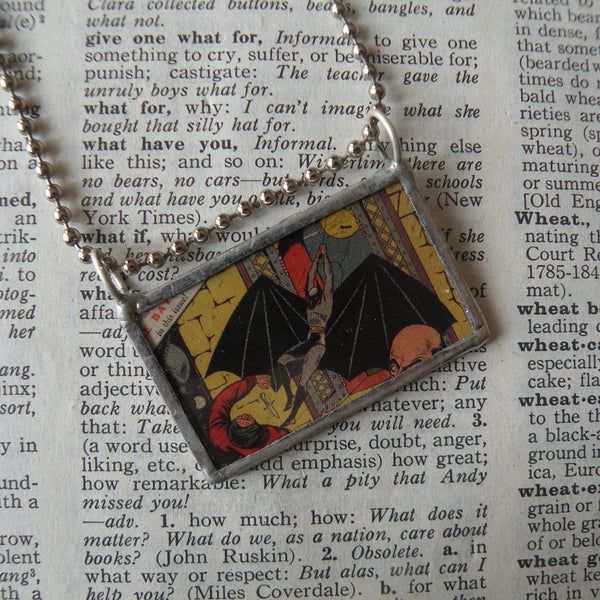 Batman, vintage Topps comic book illustration, upcycled to soldered glass pendant