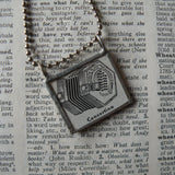 Concertina Accordion, vintage dictionary illustration up-cycled to soldered glass pendant