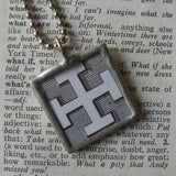 Cross, medieval heraldry symbols, upcycled to soldered glass pendant