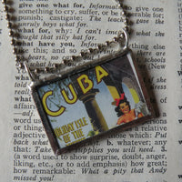 Vintage Cuba travel poster, upcycled to soldered glass pendant