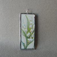 Cupid, angel with lily of the valley, vintage illustration, upcycled to soldered glass pendant
