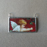 Cupid, angel with shamrocks, vintage illustration, upcycled to soldered glass pendant