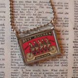Antique bicycle, bicycling, bicyclist, bike advertising illustration, upcycled to soldered glass pendant