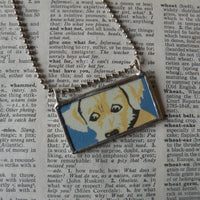 White puppy, Cavalier King Charles Spaniel vintage illustration up-cycled to hand soldered glass pendant