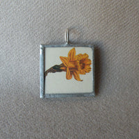 Daffodil, tulip flowers, vintage botanical illustrations, hand-soldered glass pendant