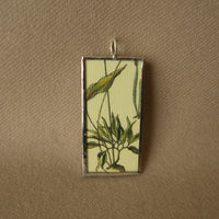 Mushrooms, fungi, vintage botanical illustrations, hand-soldered glass pendant