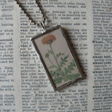 Dandelion, Japanese iris blossom, vintage botanical illustration, hand-soldered glass pendant