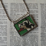 Great Dane dog vintage illustrations up-cycled to hand soldered glass pendant