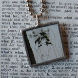 Aubrey Beardsley Art Nouveau Art Deco illustrations, upcycled to hand soldered glass pendant