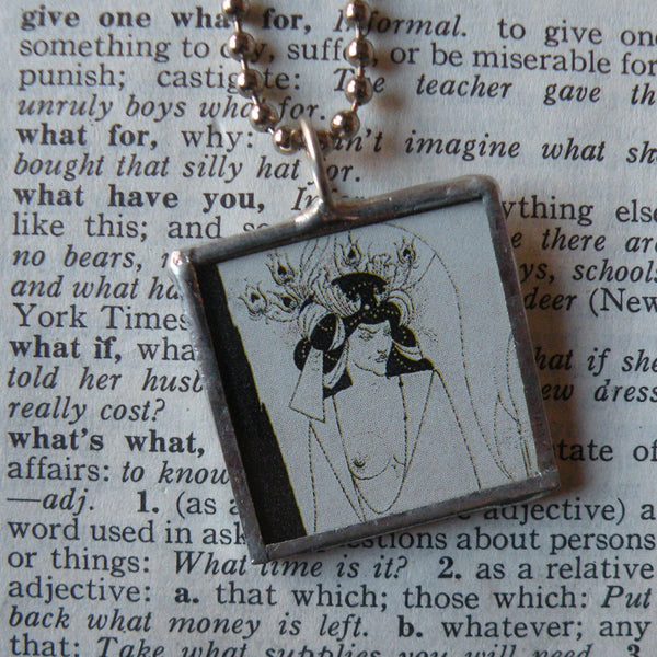 1Aubrey Beardsley Art Nouveau Art Deco illustrations, upcycled to hand soldered glass pendant