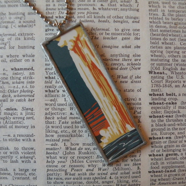 Yellowstone, Devil's Tower Wyoming, vintage National Park travel poster, upcycled hand soldered glass pendant