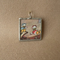 Donald Duck, original illustrations from vintage book, up-cycled to soldered glass pendant
