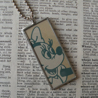 Minnie Mouse, Donald Duck, original illustrations from vintage book, up-cycled to soldered glass pendant