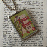 Zorro, Robin Hood, vintage illustrations, up-cycled to soldered glass pendant
