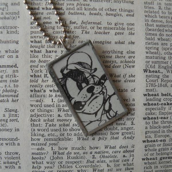 Peg Leg Pete, early Goofy, original illustrations from vintage book, up-cycled to soldered glass pendant