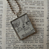 Oswald and Dot, vintage illustrations, up-cycled to soldered glass pendant
