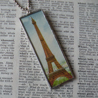 Paris France, Sacre Coeur, Monmartre, hand-soldered glass pendant, vintage travel poster / postcard illustrations,  upcycled to soldered glass pendant