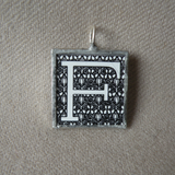 Letter F initial monogram, art nouveau design, upcycled to soldered glass pendant