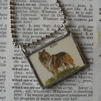 Mushrooms, vintage natural history illustrations up-cycled to soldered glass pendant