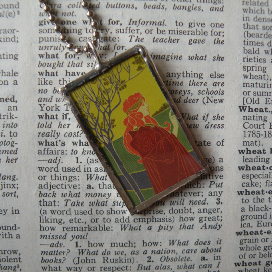 Art nouveau woman, vintage illustration, upcycled to soldered glass pendant