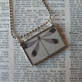 1Dragonfly and butterflies, vintage illustrations, upcycled to 2-sided soldered glass pendant