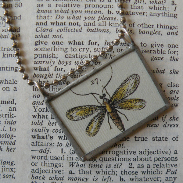 Dragonfly, flower illustrations up-cycled to hand soldered glass pendant