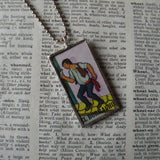 El Borracho, tequila bottle, Mexican Loteria cards up-cycled to soldered glass pendant