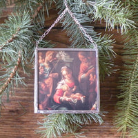 Nativity scene, vintage Christmas cards, upcycled to hand-soldered glass Christmas tree ornament