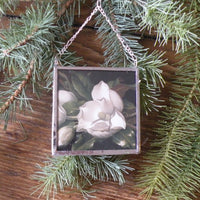 White magnolia, poinsettia, Christmas cards, upcycled to hand-soldered glass Christmas tree ornament