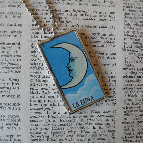 La Luna, the moon, El Sol, the sun,  Mexican Loteria cards up-cycled to soldered glass pendant