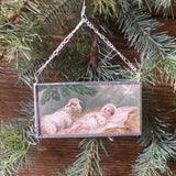 Baby Jesus, lamb, dove, vintage French Christmas postcards, upcycled to hand-soldered glass Christmas tree ornament