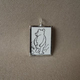 Pooh, original illustrations from vintage book, up-cycled to soldered glass pendant