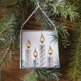 Elves, Angels in sleigh, old mill in snow, vintage 1950s-60s Christmas cards, upcycled to hand-soldered glass Christmas tree ornament