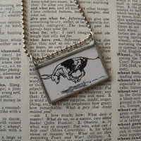 Ferdinand, vintage children's book illustrations, up-cycled to soldered glass pendant
