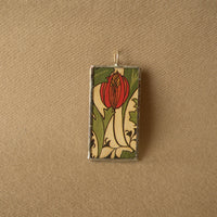 Red poppy, tulip flower, chrysanthemum, art nouveau flowers, vintage book illustrations up-cycled to soldered glass pendant