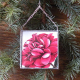 Magnolia, Camilia, Christmas cards, upcycled to hand-soldered glass Christmas tree ornament