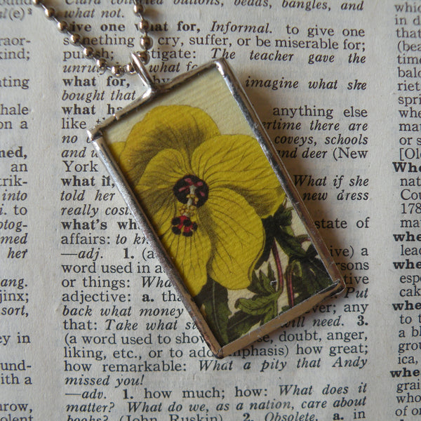 Yellow pansy, yellow rose, vintage botanical illustrations, hand-soldered glass pendant