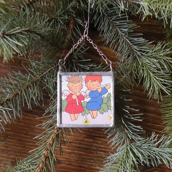 Angels, poinsettias, vintage 1960s Christmas cards, upcycled to hand-soldered glass Christmas tree ornament