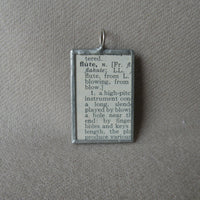 Flute, music, musician, vintage dictionary illustration up-cycled to soldered glass pendant