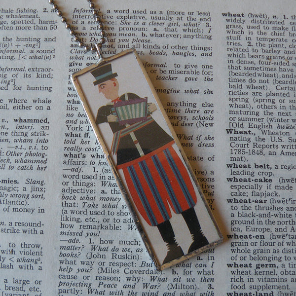 Accordion Player, folk art painting, upcycled to soldered glass pendant