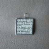 Foxhound dog, vintage 1940s dictionary illustration, up-cycled to hand-soldered glass pendant