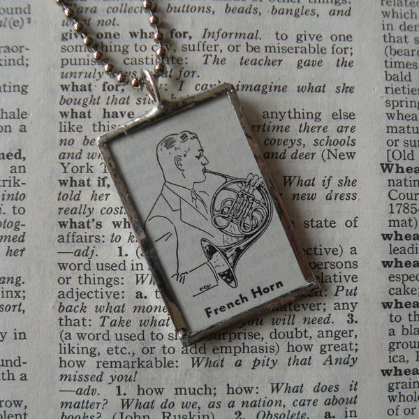 French horn, vintage dictionary illustration up-cycled to soldered glass pendant