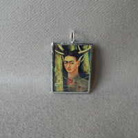Frida Khalo, self-portraits upcycled to hand soldered glass pendant