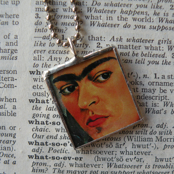 Frida Khalo, self-portraits, upcycled to hand soldered glass pendant