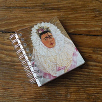 Frida Kahlo, self-portrait postcard, up-cycled to wire-bound sketchbook / journal