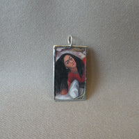 Frida Khalo, self-portrait upcycled to hand soldered glass pendant