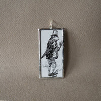 Frog with top hat, vintage children's book illustration up-cycled to soldered glass pendant